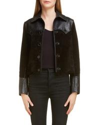 Black Leather Shirt Jacket
