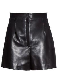Balenciaga High Waist Leather Shorts