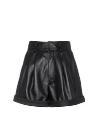 Saint Laurent High Waisted Leather Shorts