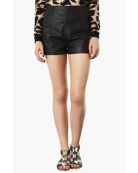 Topshop Lola High Waist Faux Leather Shorts Black 4