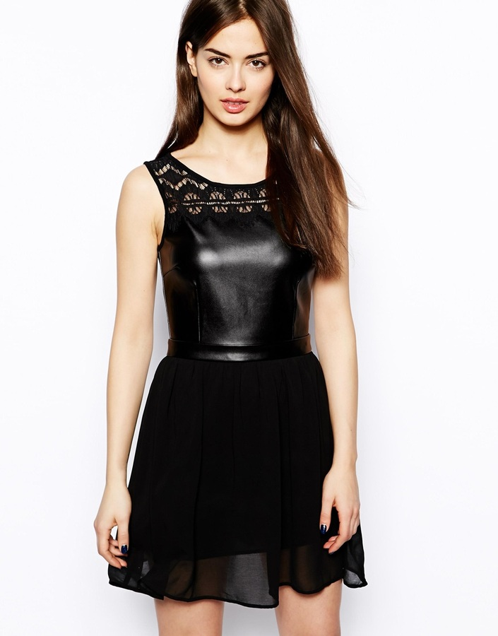 Glamorous Skater Dress With Leather Look Top Black 35 Asos