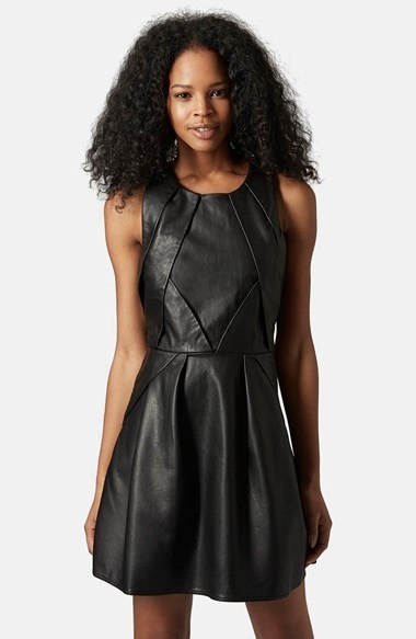 ... Topshop Tulisa Faux Leather Skater Dress ... 304ce9a0f
