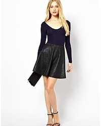Club L Embossed Leather Look Skater Skirt Black