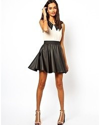 Club L Leather Look Skater Skirt Black