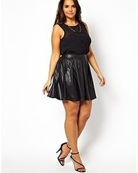 AX Paris Curve Leather Look Skater Skirt Black