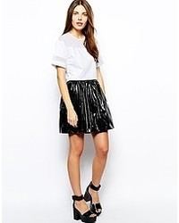 Lavish Alice Pu Skater Skirt Black