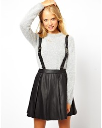 Asos Pinafore Skater Skirt In Pu With Detachable Straps