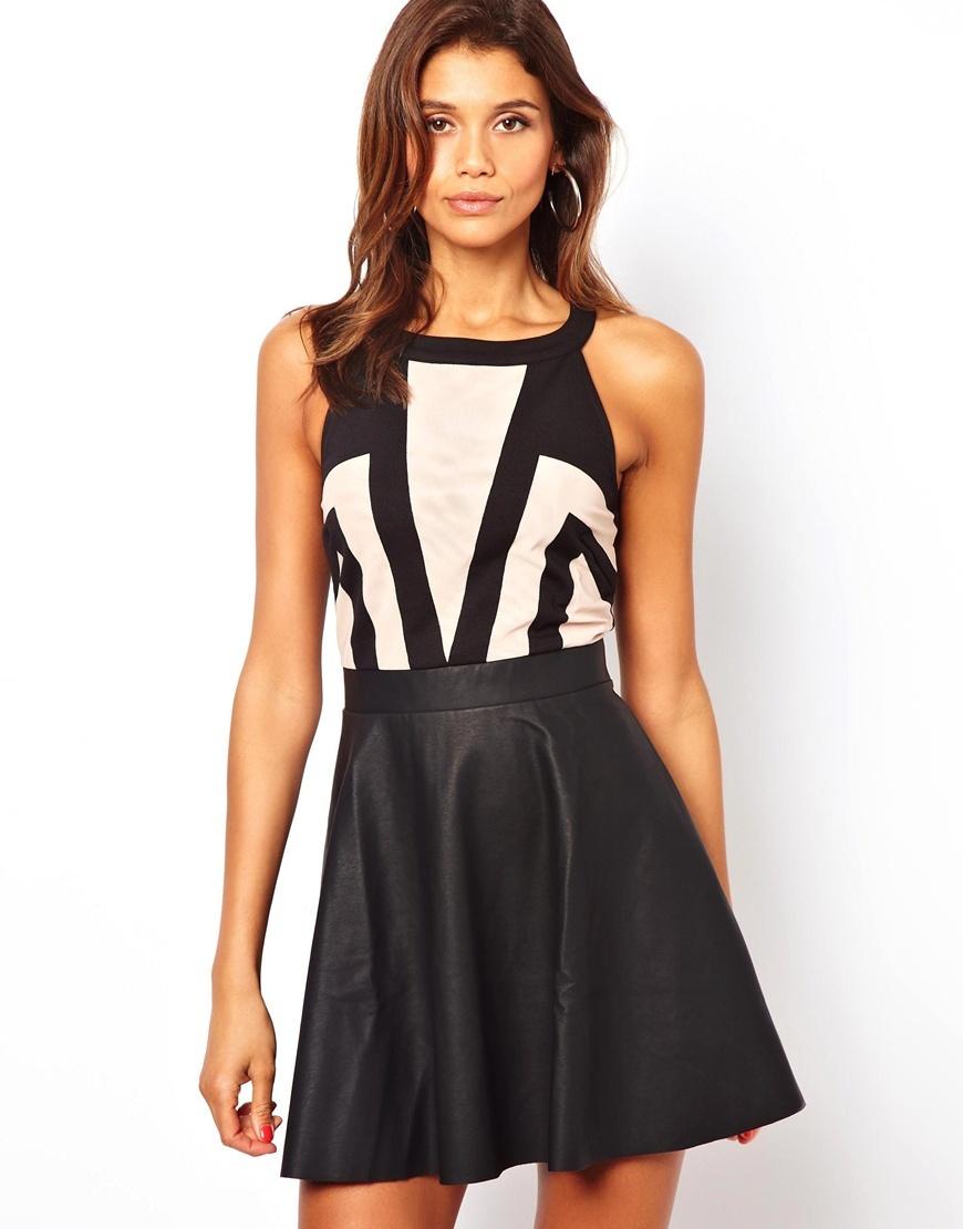 Lipsy Skater Dress With Pu Skirt