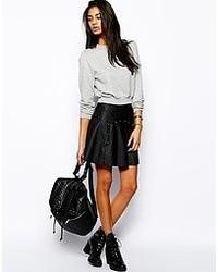 Glamorous Studded Pu Skater Skirt Black