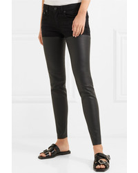 R13 Chaps Leather Paneled Mid Rise Skinny Jeans