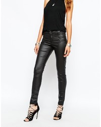 Noisy May Fame Coated Skinny Jeans With Zip Pockets