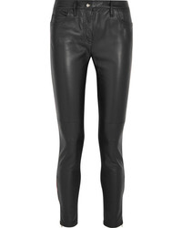 Leather and stretch jersey mid rise skinny jeans black medium 1044745
