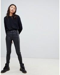 Dr. Denim Solitaire Super High Waist Leather Look Super Skinny Jean Metal A09
