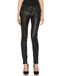 Current/Elliott The Ankle Skinny Leather Pant In Black