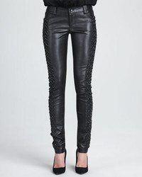 Alice + Olivia Embroidered Panel Leather Pants