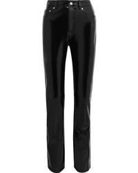 Helmut Lang Patent Leather Straight Leg Pants