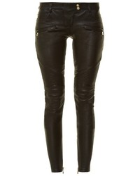 Balmain Skinny Leg Leather Biker Trousers
