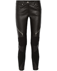 Givenchy Skinny Pants In Black Leather And Stretch Knit Fr42
