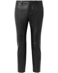 Nili Lotan Tel Aviv Cropped Leather Tapered Pants
