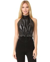 Black leather halter top medium 786769