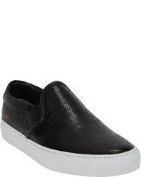 Black Leather Slip-on Sneakers