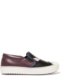 Fendi Bag Bug Leather Slip On Sneakers Black