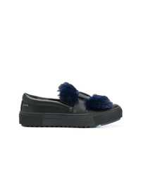 Karl Lagerfeld Fur Patch Slip On Sneakers