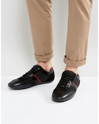 Hugo Boss Hugo By Sporty Leather And Mesh Detail Sneakers Black