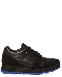 Stella McCartney Macy Lace Panel Faux Leather Trainers