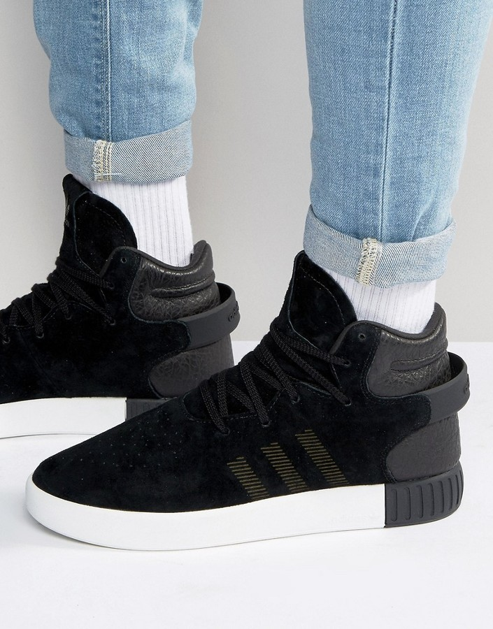 sale retailer a712c f2b8b ... Black Leather Sneakers adidas Originals Tubular Invader Sneakers S80241  ...