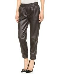 Black Leather Sweatpants