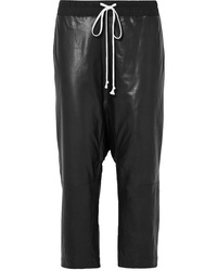 Rick Owens Cropped Cotton Jersey Trimmed Leather Pants