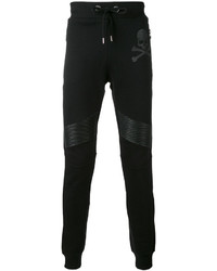 Philipp Plein Leather Biker Patch Track Pants