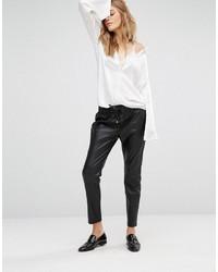 Mango Leather Look Track Pant