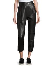 Vince Leather Single Pleat Cropped Pants Black