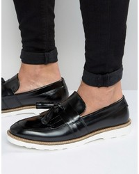 Smart loafers in black leather with large tassels medium 1033650