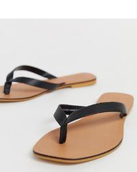 ASOS DESIGN Wide Fit Florence Leather Flip Flop Sandals In Black