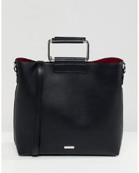 a73c02d55d1 Aldo Olieni Black Minimal Tote Shopper Bag With Metal Handle Detail
