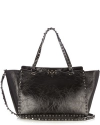 Valentino Rockstud Rolling Cracked Leather Tote