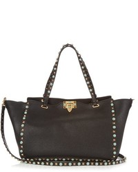 Valentino Rockstud Rolling Grained Leather Tote