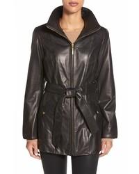 Belted front zip leather coat medium 432237