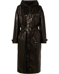 Prada Hooded Patent Leather Trench Coat