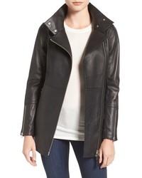 Leather moto trench coat medium 845042