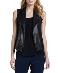 Vince Leather Front Twill Vest
