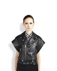 Saint Laurent Leather Moto Vest Black