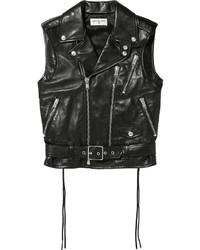 Saint Laurent Leather Vest Black