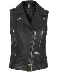 Topshop Leather Biker Gilet