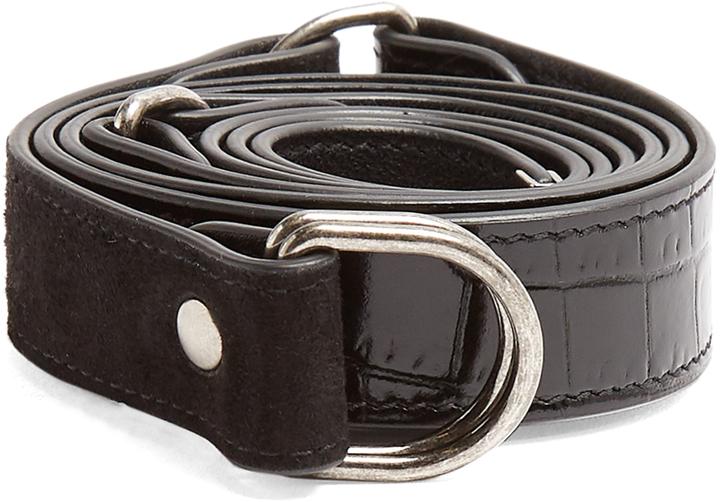 Saint Laurent Contrast Panel Leather And Suede Waist Belt