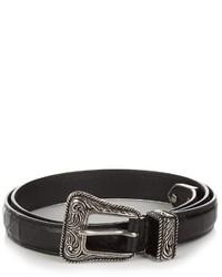 Saint Laurent Crocodile Effect Skinny Leather Waist Belt