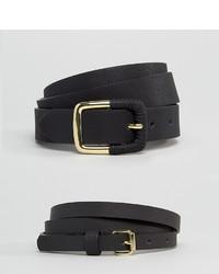 Asos Curve Curve 2 Pack Skinny Waist Belt And Jeans Belt